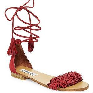 Steve Madden Sweetyy Fringe Lace Up Flat Sandals